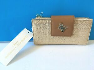 Adrienne Vittadini Glazed Raffia Suede Fold Out Tab Snap RFID protected Wallet