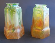 Fine Pair of BOHEMIAN ART NOUVEAU Glass Lamp Shades  c. 1910  antique loetz