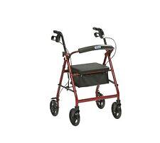 Drive Medical Red Rollator Lightweight Adjustable Aluminium Walking Frame