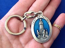 Rare Custom OUR LADY OF FATIMA Religious Key Chain Key Ring ENAMEL Saint Medal
