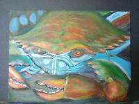 Original Acrylic Painting 9x12 Canvas Panel, Crab Marine Life  Art Home Decor