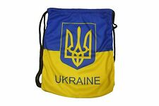"""UKRAINE WITH TRIDENT COUNTRY FLAG DRAWSTRING KNAPSACK BAG  SIZE: 14"""" X 18"""" INCH"""