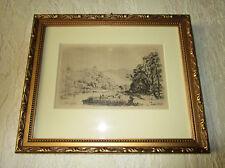 Eau forte XIXe gravure encadré imprimeur Quantin campagne rivière lavandières.