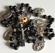 Old Tibet oxen Bone Skull Black Wood Ebony Bead Rosary Necklace & Cross 6 medal