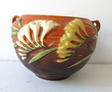 "Vintage ROSEVILLE Pottery Vase Brown & Orange Freesia Flowers 4.5"" Tall #669-4"