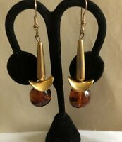 Vintage Florentine Baroque Style Lilly with Lucite Square Bead Drop Earrings