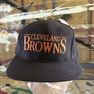 NEW VINTAGE CLEVELAND BROWNS NFL ANNCO WOOL SNAPBACK HAT EMBROIDERED NWT DS
