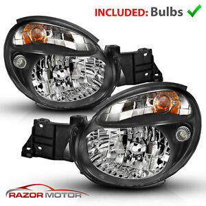 2002-2003 Black Headlight Pair For Subaru Impreza WRX Outback GD Bug Eye w/Bulbs