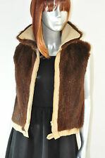 Vintage Women's Faux Fur Vest Brown Fur Vest Winter Jacket Quilted