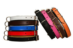 Handmade COLOR REAL LEATHER TOP & BOTTOM BLACK PADDED DOG PUPPY COLLAR