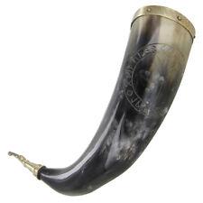 Medieval Viking Norse Algiz Protection Handmade Drinking Horn Ceremonial Mug