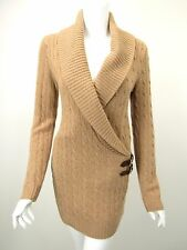RALPH LAUREN BLACK LABEL Camel Cable Knit Cashmere Buckle Detail Tunic Dress S