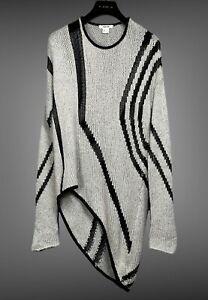 HELMUT LANG Intarsia Gray Sweater Sz S Striped Asymmetrical Hem Lightweight Knit