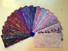 "40 x Batik Fabric Quilting Craft Sewing Layer Cakes 10"" x 10"" Squares Pop Purple"