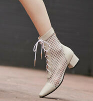 TOP Hot Sandals Boots womens summer spring autumn booties shoes mesh net lace-up