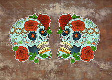 2 x Sugar Skull Vinyl Sticker Decal Mexican Spanish Day of the Dead Fun 002