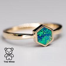 Minimalist Geometric Design Hexagon Australian Doublet Opal Ring 14k Yellow Gold