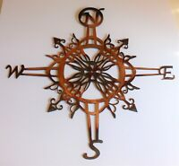"Ornamental Nautical Rose 20"" Wall Art Metal Decor copper/bronze plated"