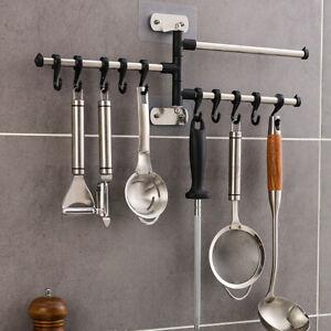 10 Hook Kitchen Utensil Tool Holder Storage Wall Rack Bathroom Towel Rail Hanger