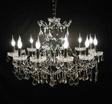 Large Chrome 12 Arm Branch French Shallow Cut Glass Chandelier High Quality