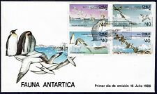 CHILE FDC COVER 1986 # 1193/6 ANTARCTIC FAUNA BIRD