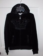NWT Womens $189 Christian Audigier Black Monogram Velour Hoodie Sweater Size S