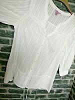 Monsoon Blouse UK 14 Eur 42 White Cotton Smock Top Tunic Button Down Drawstring