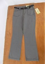 New listing NWT Sonoma Women Boot Cut Original Fit Jean-style pants Belted Sz 8 Gray STRETCH