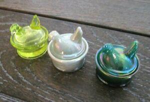 E.E. Bowman Mini Hen on Nest Salt Dips Iridescent Gray, Green Slag, Vaseline VGC