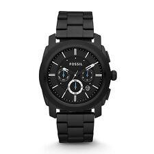 Máquina Fossil Para Hombre Correa De Metal Negra Cronógrafo Reloj FS4552 Nuevo