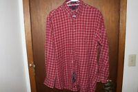Tommy Hilfiger Red Dress Shirt Mens Size M Large 80's 2 Ply Button Up L/S Plaid