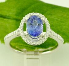 1.58 ct 14k Solid White Gold ladies Oval AAA Natural Tanzanite & Diamond Ring