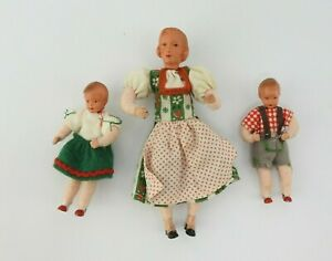 Vintage Caco Dollhouse Dolls German Mother Son Daughter