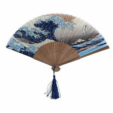 Vintage Folding Bamboo Seawave Fan Handheld Chinese Dance Party Pocket Gift
