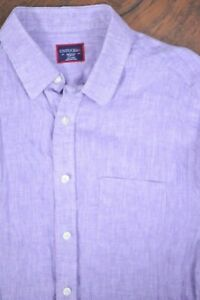 Untuckit LS Button Front Shirt Linen Lavender Slim Fit Men's Medium M
