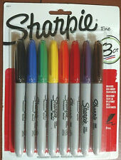 NIP SHARPIE 8 COUNT FINE POINT PERMANENT MARKERS NON-TOXIC, GUARANTEED, QUICKDRY