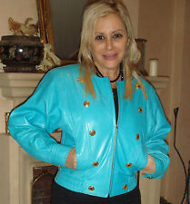 Designer Classic Laurel Soft Supple Leather Jacket Coat Gold Buttons Small 34