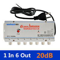 1 In 6 Out CATV Cable TV Video Signal Amplifier AMP Booster Splitter