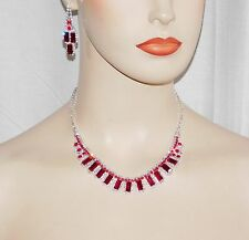 FLEXIBLE SILVER CLEAR & RED RUBY RHINESTONE NECKLACE AND EARRINGS SET