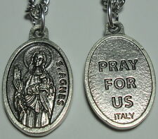 "St Agnes Holy Medal on 24"" Chain Patron of Girl Scouts Gardeners Engaged Couples"