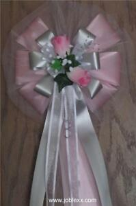 6 PINK ROSES with 2 tones PINK/SILVER flora Satin Ribbon Pew Bows