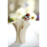 NIB Franz Porcelain Red Headed Bird Design Small Vase FZ02146