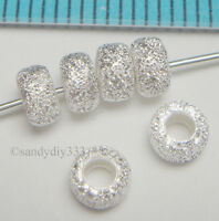 10x STERLING SILVER STARDUST RONDELLE SPACER BEADS 4.3mm #077