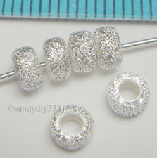 10x STERLING SILVER STARDUST RONDELLE BEADS 4.3mm #077