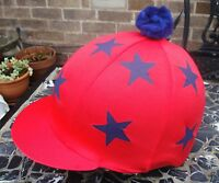 Riding Hat Silk Skull cap Cover RED * DOUBLE NAVY BLUE STARS With OR w/o Pompom
