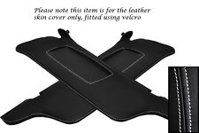 WHITE STITCHING FITS FORD MUSTANG 99-04 2X SUN VISORS LEATHER COVERS ONLY