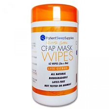 """CPAP Mask Wipes Lite Citrus Cleaning 5"""" x 8"""" Cleaner Pop-Up Dispenser 62 Count"""