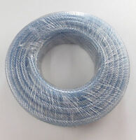 """3 MTRS 8mm 5/16""""  PVC FUEL AIR OIL WATER CLEAR BRAIDED HOSE TUBE PIPE TUBING"""