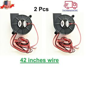 2XBrushless Fan DC12V 5015 Cooling Blower Exhaust 2-pin for 3D Printer Durable