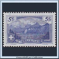 Svizzera 1914 Vedute Monti  Fr. 5 oltremare n. 143 Nuovo Integro **  HELVETIA